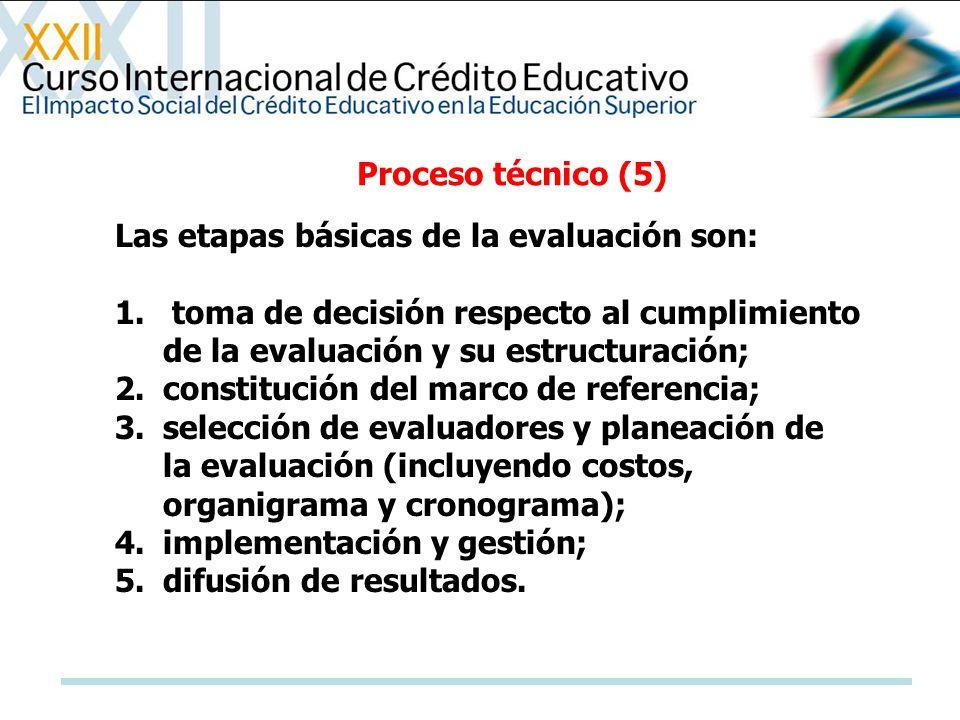 Las etapas básicas de la evaluación son: 1. toma de decisión respecto al cumplimiento de la evaluación y su estructuración; 2.constitución del marco d