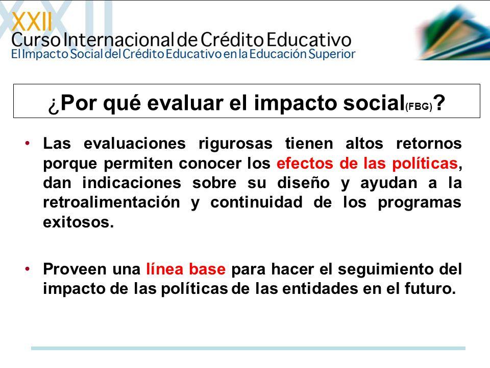 ¿Por qué evaluar el impacto social (FBG) ? Las evaluaciones rigurosas tienen altos retornos porque permiten conocer los efectos de las políticas, dan