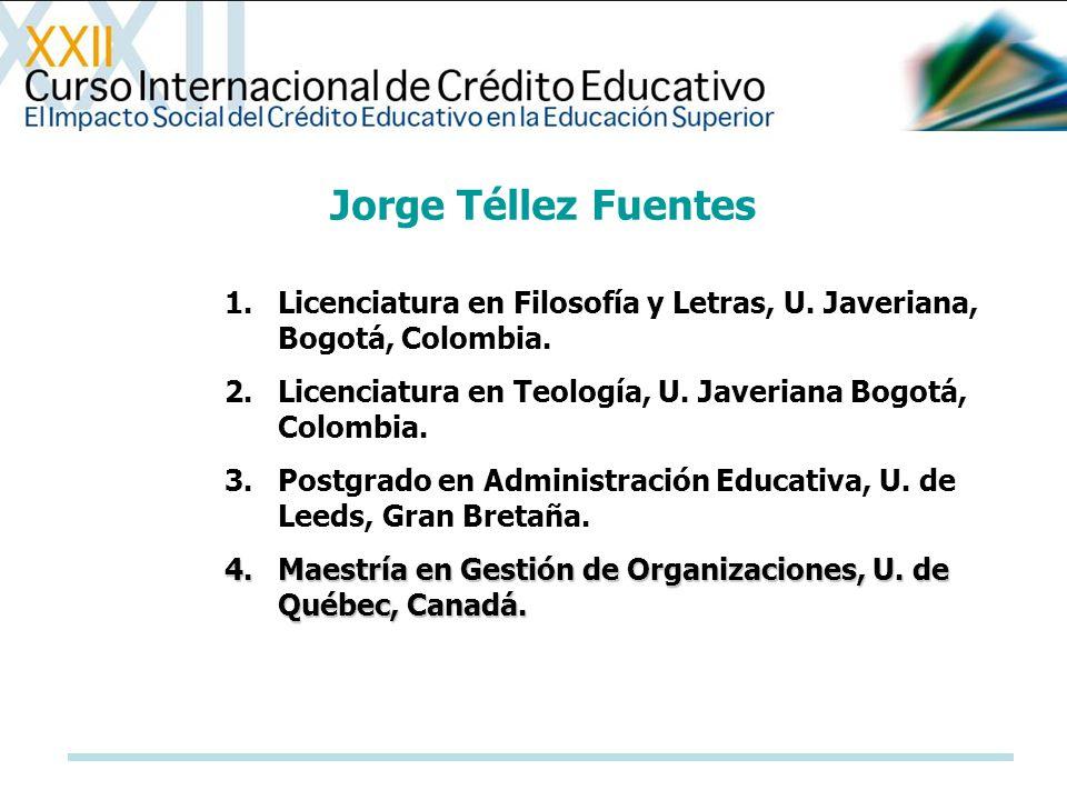 1.Licenciatura en Filosofía y Letras, U. Javeriana, Bogotá, Colombia. 2.Licenciatura en Teología, U. Javeriana Bogotá, Colombia. 3.Postgrado en Admini