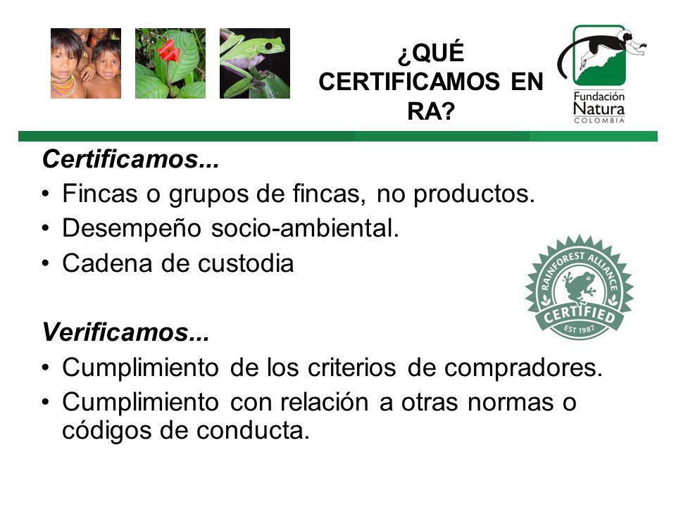¿QUÉ CERTIFICAMOS EN RA. Certificamos... Fincas o grupos de fincas, no productos.