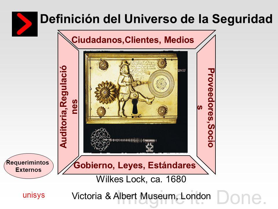 Imagine it. Done. unisys Definición del Universo de la Seguridad Gobierno, Leyes, Estándares Ciudadanos,Clientes, Medios Auditoria,Regulació nes Prove