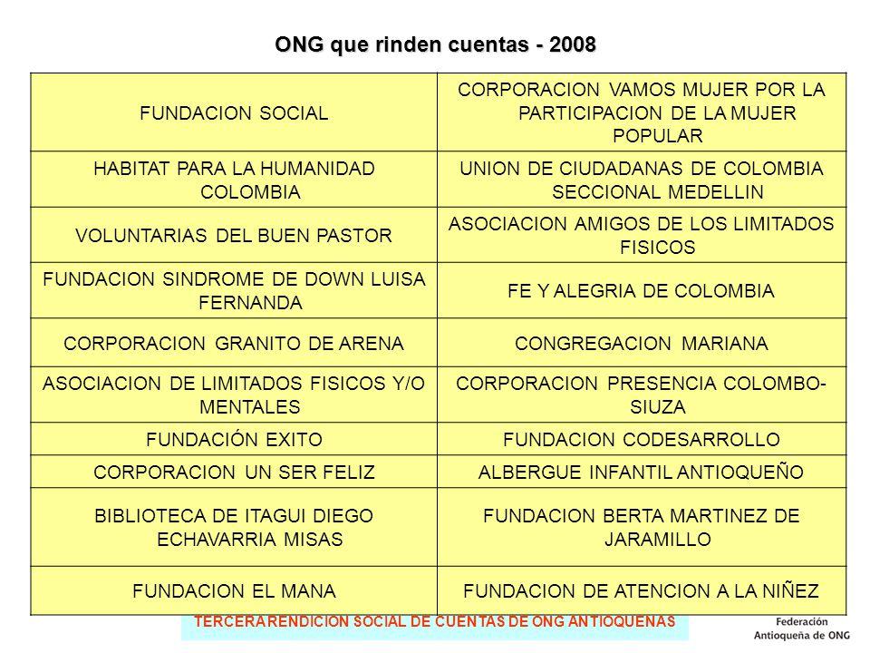 TERCERA RENDICIÓN SOCIAL DE CUENTAS DE ONG ANTIOQUEÑAS FUNDACION SOCIAL CORPORACION VAMOS MUJER POR LA PARTICIPACION DE LA MUJER POPULAR HABITAT PARA LA HUMANIDAD COLOMBIA UNION DE CIUDADANAS DE COLOMBIA SECCIONAL MEDELLIN VOLUNTARIAS DEL BUEN PASTOR ASOCIACION AMIGOS DE LOS LIMITADOS FISICOS FUNDACION SINDROME DE DOWN LUISA FERNANDA FE Y ALEGRIA DE COLOMBIA CORPORACION GRANITO DE ARENACONGREGACION MARIANA ASOCIACION DE LIMITADOS FISICOS Y/O MENTALES CORPORACION PRESENCIA COLOMBO- SIUZA FUNDACIÓN EXITOFUNDACION CODESARROLLO CORPORACION UN SER FELIZALBERGUE INFANTIL ANTIOQUEÑO BIBLIOTECA DE ITAGUI DIEGO ECHAVARRIA MISAS FUNDACION BERTA MARTINEZ DE JARAMILLO FUNDACION EL MANAFUNDACION DE ATENCION A LA NIÑEZ ONG que rinden cuentas - 2008