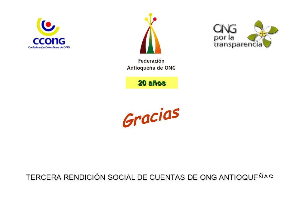 TERCERA RENDICIÓN SOCIAL DE CUENTAS DE ONG ANTIOQUEÑAS Gracias 20 años