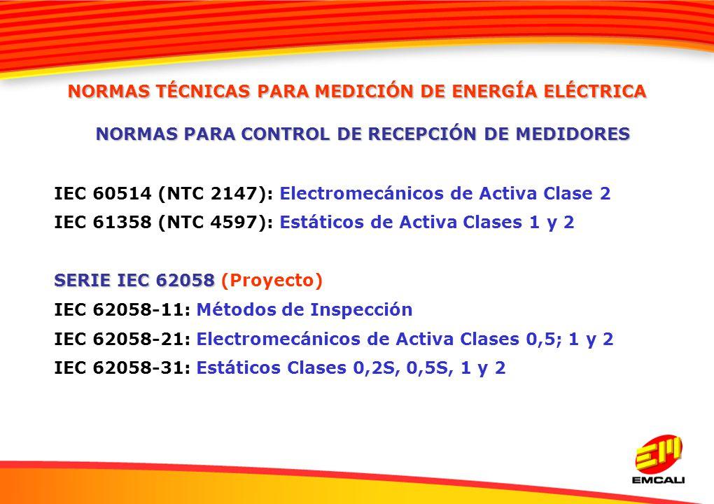 IEC 60514 (NTC 2147): Electromecánicos de Activa Clase 2 IEC 61358 (NTC 4597): Estáticos de Activa Clases 1 y 2 SERIE IEC 62058 SERIE IEC 62058 (Proye