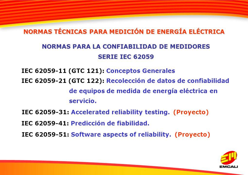 IEC 62059-11 (GTC 121): Conceptos Generales IEC 62059-21 (GTC 122): Recolección de datos de confiabilidad de equipos de medida de energía eléctrica en