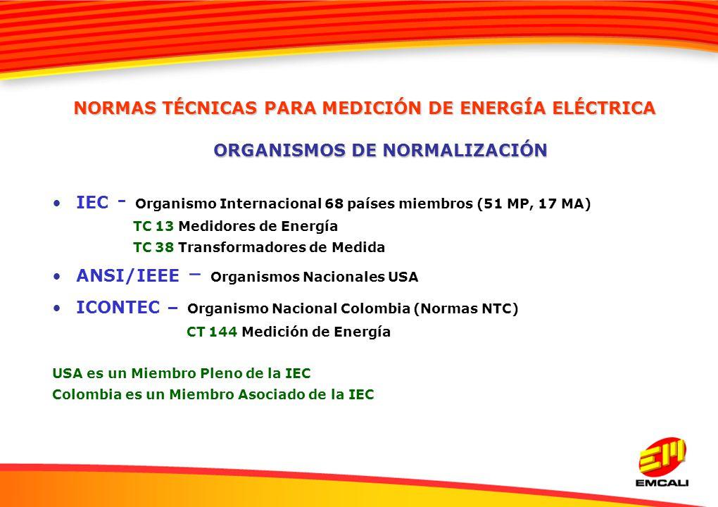 IEC - Organismo Internacional 68 países miembros (51 MP, 17 MA) TC 13 Medidores de Energía TC 38 Transformadores de Medida ANSI/IEEE – Organismos Naci