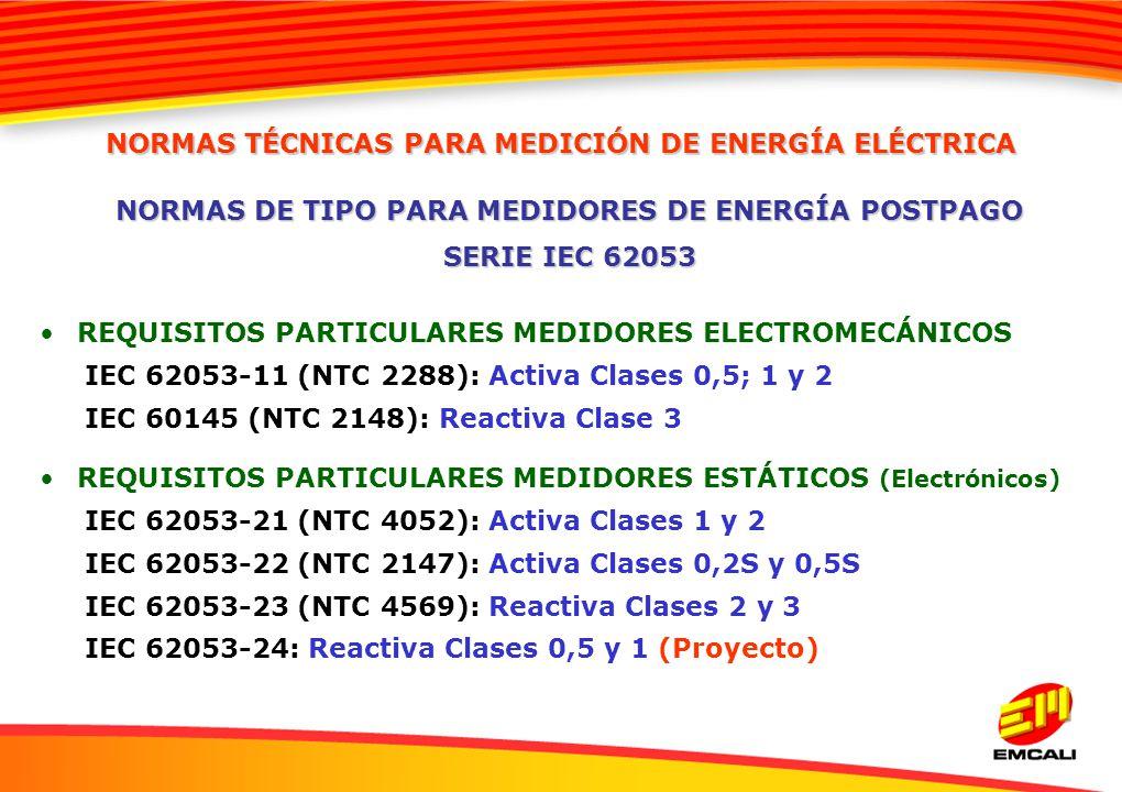 REQUISITOS PARTICULARES MEDIDORES ELECTROMECÁNICOS IEC 62053-11 (NTC 2288): Activa Clases 0,5; 1 y 2 IEC 60145 (NTC 2148): Reactiva Clase 3 REQUISITOS