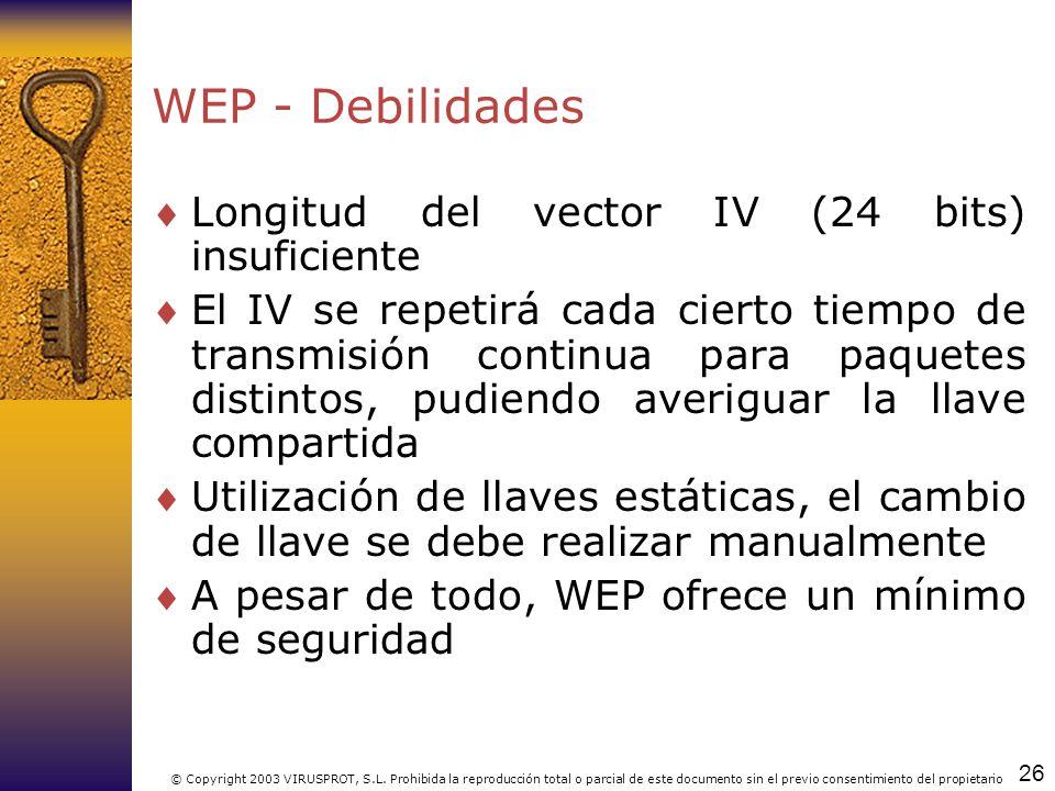 26 © Copyright 2003 VIRUSPROT, S.L. Prohibida la reproducción total o parcial de este documento sin el previo consentimiento del propietario WEP - Deb