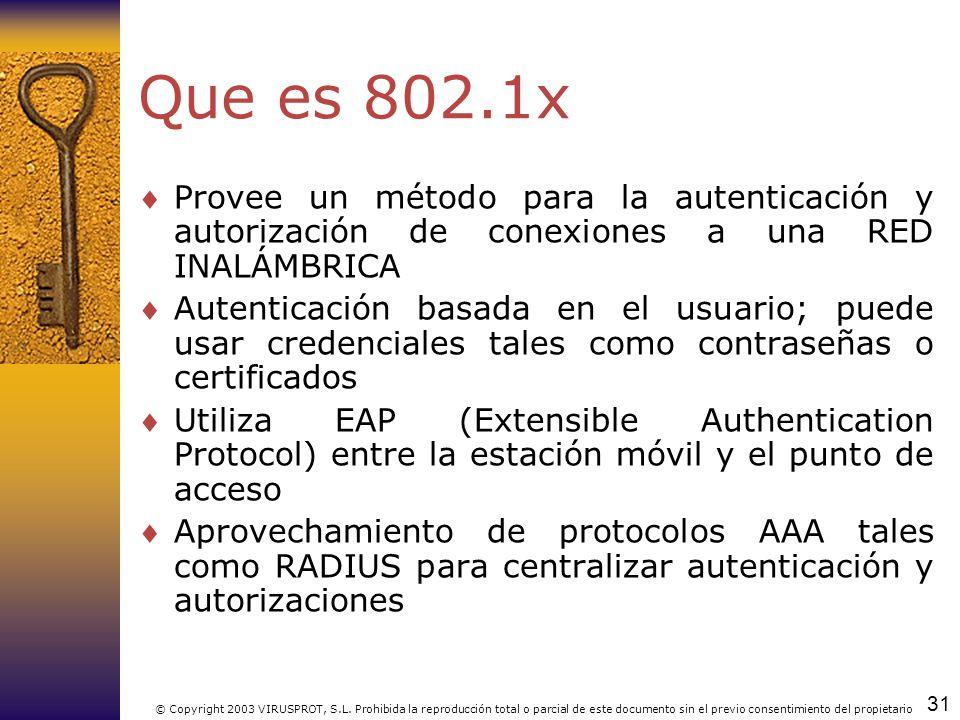 31 © Copyright 2003 VIRUSPROT, S.L. Prohibida la reproducción total o parcial de este documento sin el previo consentimiento del propietario Que es 80