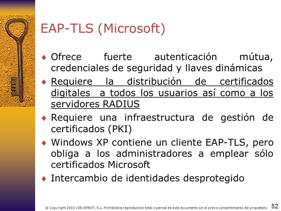52 © Copyright 2003 VIRUSPROT, S.L. Prohibida la reproducción total o parcial de este documento sin el previo consentimiento del propietario EAP-TLS (