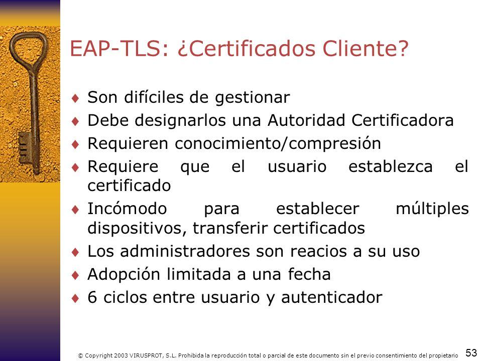 53 © Copyright 2003 VIRUSPROT, S.L. Prohibida la reproducción total o parcial de este documento sin el previo consentimiento del propietario EAP-TLS: