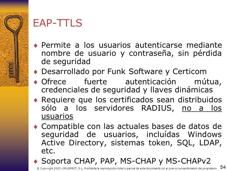 54 © Copyright 2003 VIRUSPROT, S.L. Prohibida la reproducción total o parcial de este documento sin el previo consentimiento del propietario EAP-TTLS