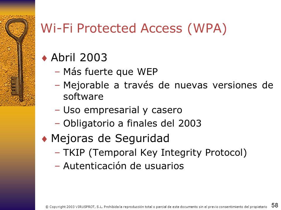 58 © Copyright 2003 VIRUSPROT, S.L. Prohibida la reproducción total o parcial de este documento sin el previo consentimiento del propietario Wi-Fi Pro