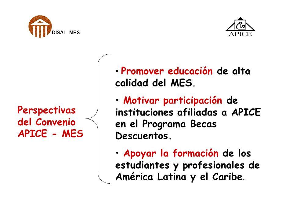 Perspectivas del Convenio APICE - MES Promover educación de alta calidad del MES. Motivar participación de instituciones afiliadas a APICE en el Progr