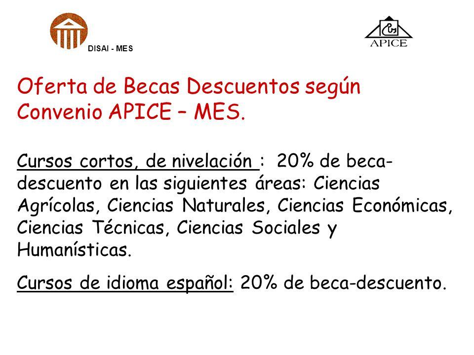Oferta de Becas Descuentos según Convenio APICE – MES. Cursos cortos, de nivelación : 20% de beca- descuento en las siguientes áreas: Ciencias Agrícol
