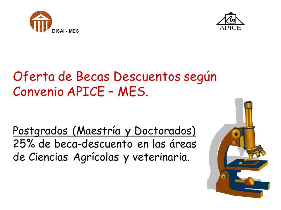 Oferta de Becas Descuentos según Convenio APICE – MES. Postgrados (Maestría y Doctorados) 25% de beca-descuento en las áreas de Ciencias Agrícolas y v