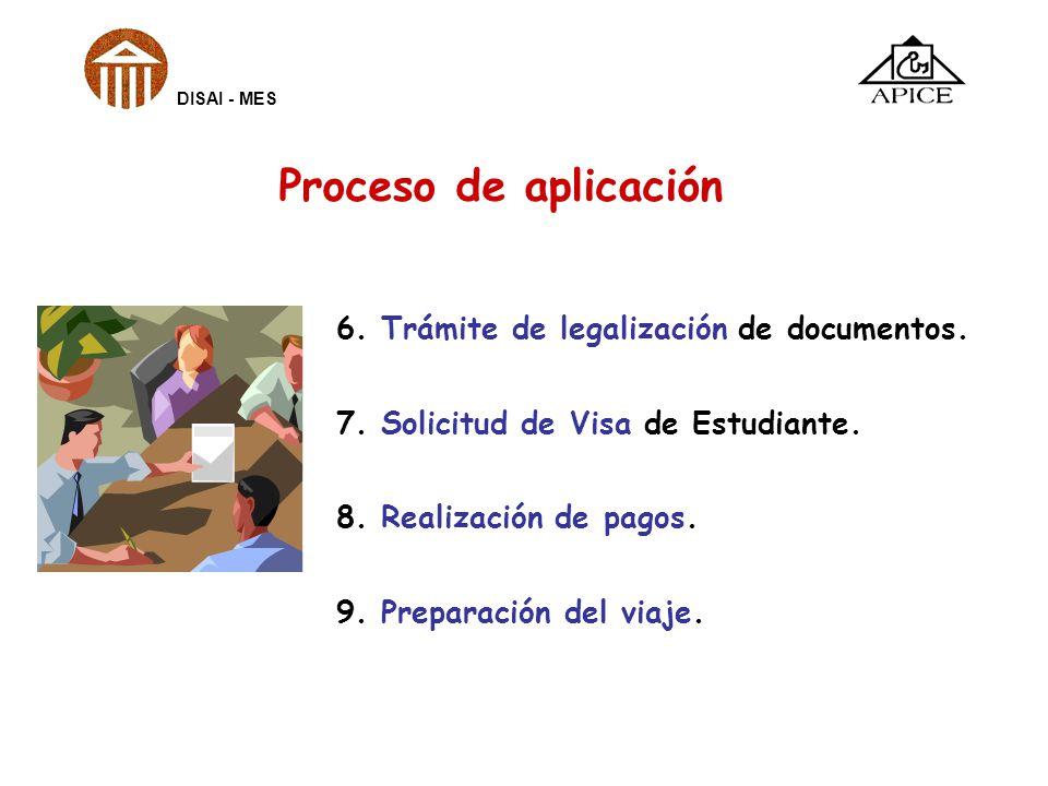 6. Trámite de legalización de documentos. 7. Solicitud de Visa de Estudiante. 8. Realización de pagos. 9. Preparación del viaje. DISAI - MES Proceso d