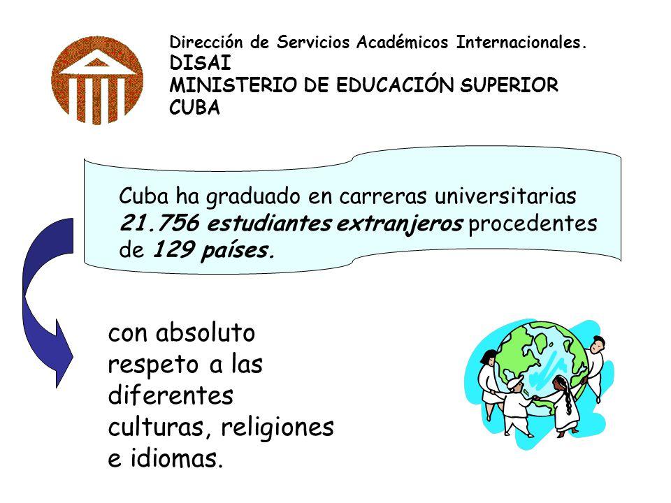 Dirección de Servicios Académicos Internacionales. DISAI MINISTERIO DE EDUCACIÓN SUPERIOR CUBA Cuba ha graduado en carreras universitarias 21.756 estu