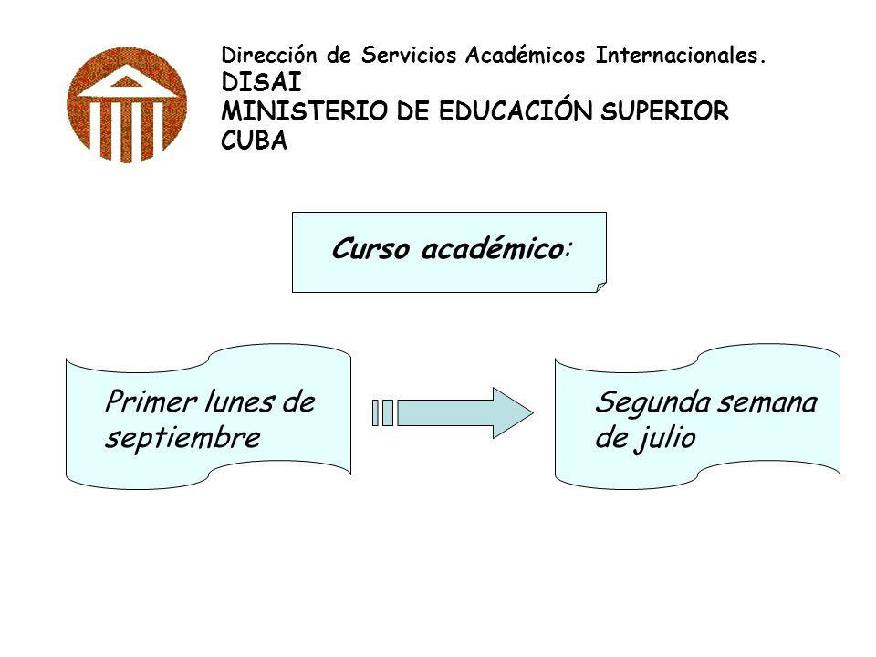 Dirección de Servicios Académicos Internacionales. DISAI MINISTERIO DE EDUCACIÓN SUPERIOR CUBA Curso académico: Primer lunes de septiembre Segunda sem