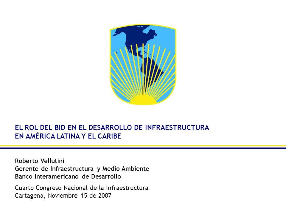 EL ROL DEL BID EN EL DESARROLLO DE INFRAESTRUCTURA EN AMÉRICA LATINA Y EL CARIBE Roberto Vellutini Gerente de Infraestructura y Medio Ambiente Banco I