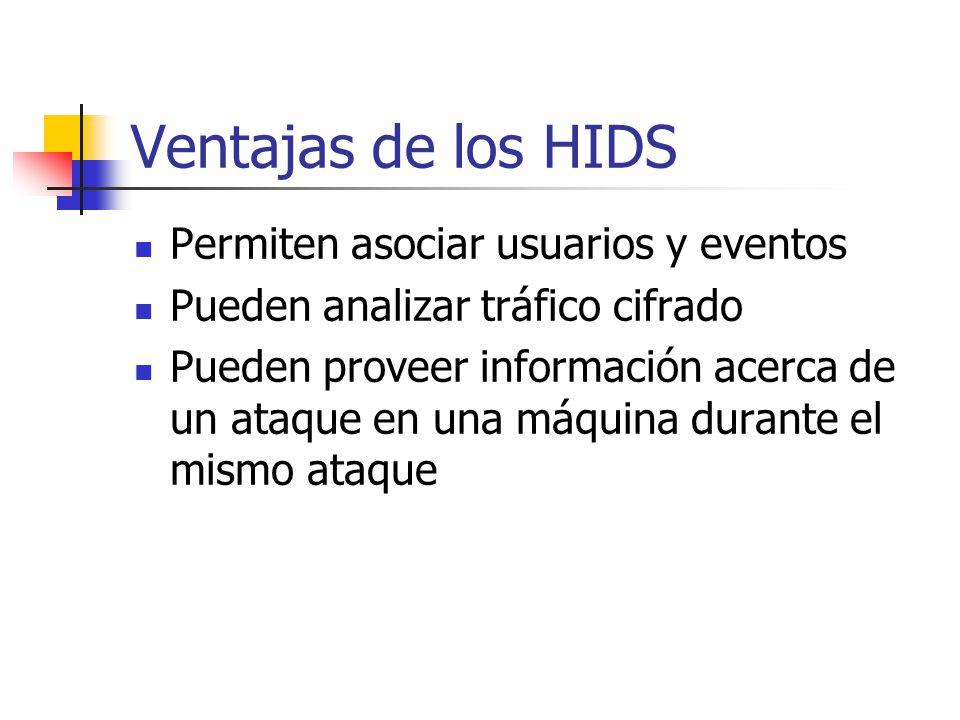 Ventajas de los HIDS Permiten asociar usuarios y eventos Pueden analizar tráfico cifrado Pueden proveer información acerca de un ataque en una máquina