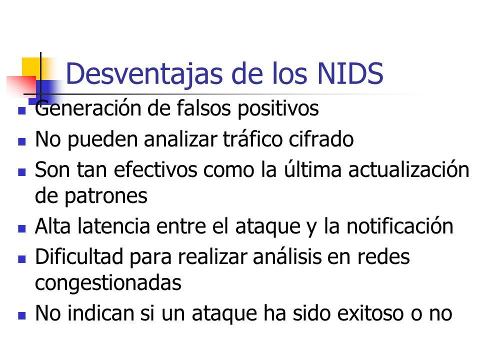 Desventajas de los NIDS Generación de falsos positivos No pueden analizar tráfico cifrado Son tan efectivos como la última actualización de patrones A