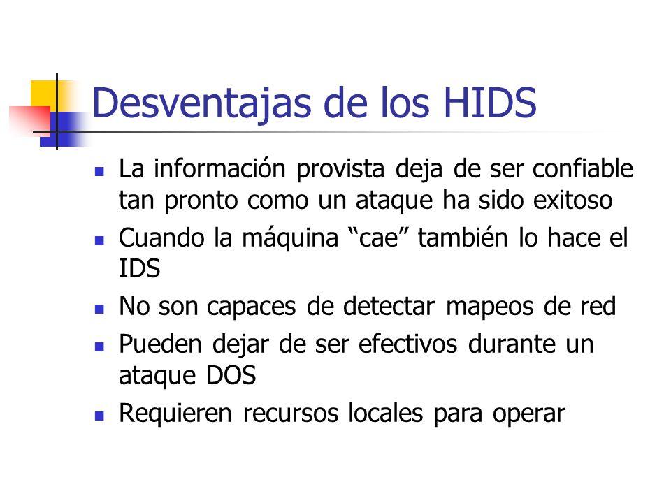 Desventajas de los HIDS La información provista deja de ser confiable tan pronto como un ataque ha sido exitoso Cuando la máquina cae también lo hace