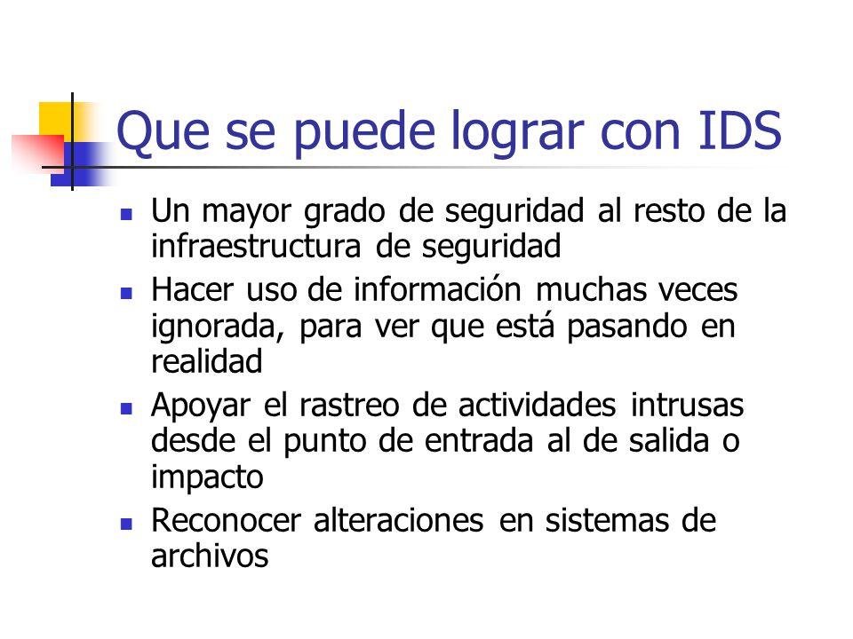 Que se puede lograr con IDS Un mayor grado de seguridad al resto de la infraestructura de seguridad Hacer uso de información muchas veces ignorada, pa