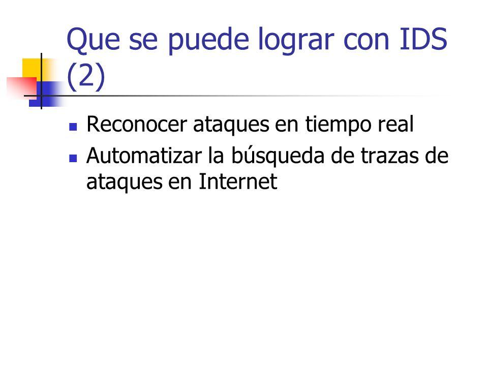 Que se puede lograr con IDS (2) Reconocer ataques en tiempo real Automatizar la búsqueda de trazas de ataques en Internet