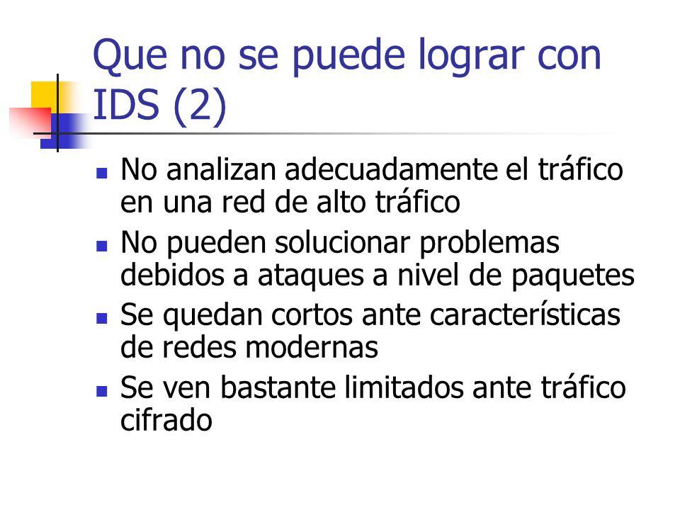 Que no se puede lograr con IDS (2) No analizan adecuadamente el tráfico en una red de alto tráfico No pueden solucionar problemas debidos a ataques a