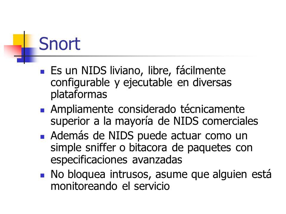 Snort Es un NIDS liviano, libre, fácilmente configurable y ejecutable en diversas plataformas Ampliamente considerado técnicamente superior a la mayor