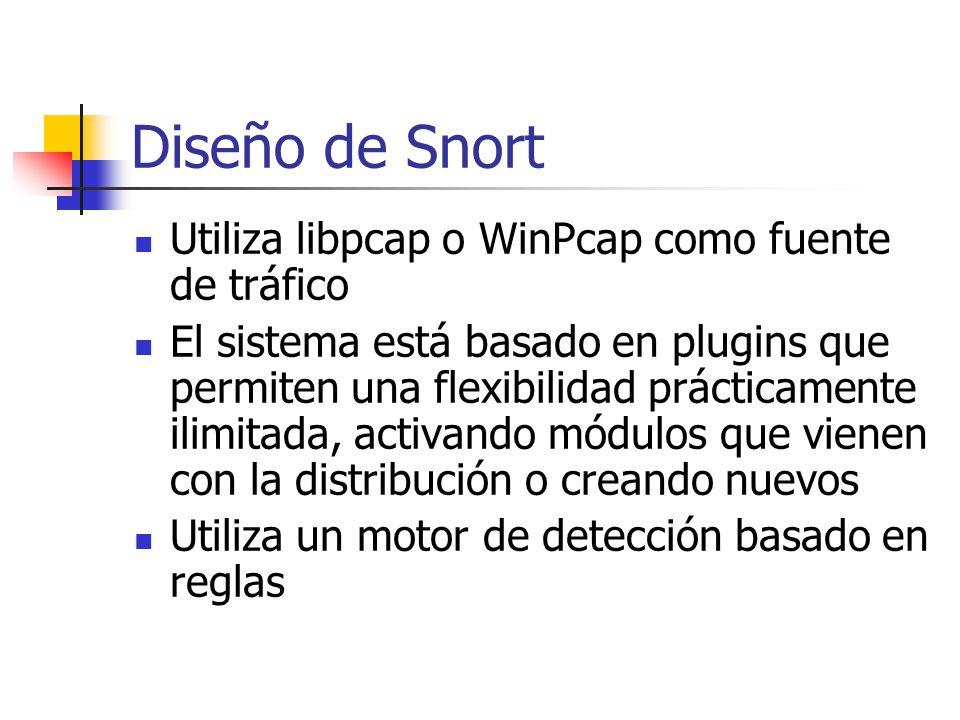 Diseño de Snort Utiliza libpcap o WinPcap como fuente de tráfico El sistema está basado en plugins que permiten una flexibilidad prácticamente ilimita