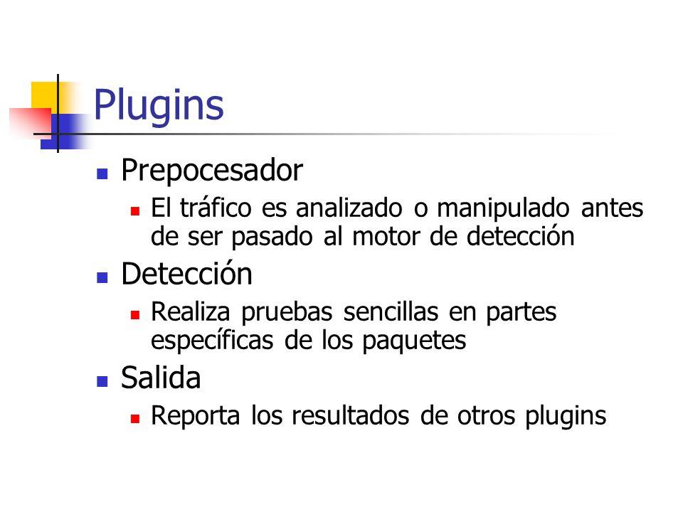 Plugins Prepocesador El tráfico es analizado o manipulado antes de ser pasado al motor de detección Detección Realiza pruebas sencillas en partes espe