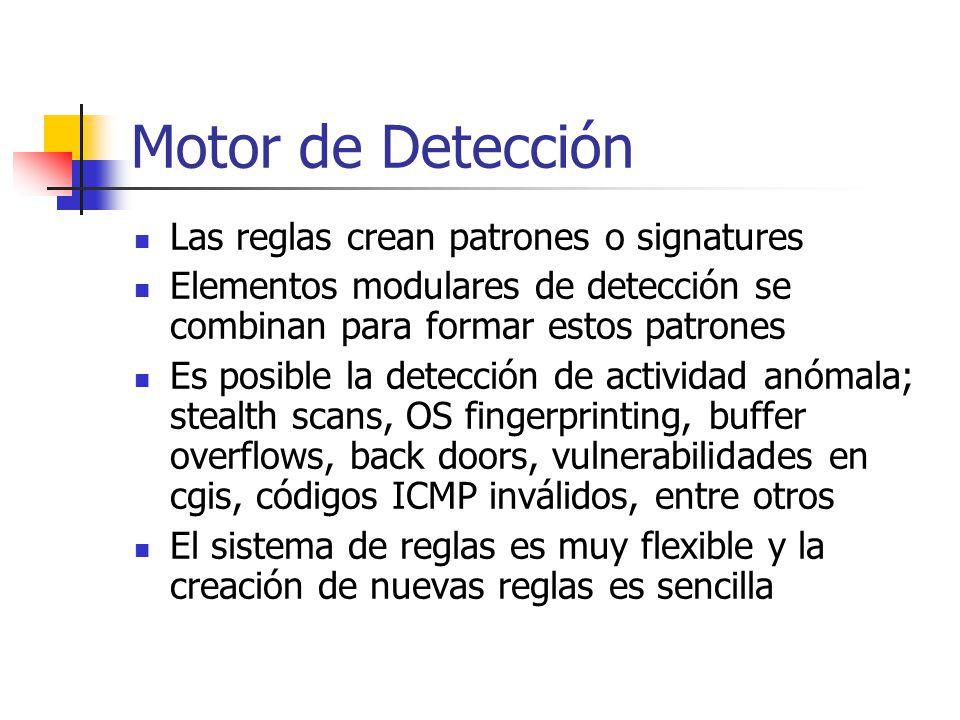 Motor de Detección Las reglas crean patrones o signatures Elementos modulares de detección se combinan para formar estos patrones Es posible la detecc