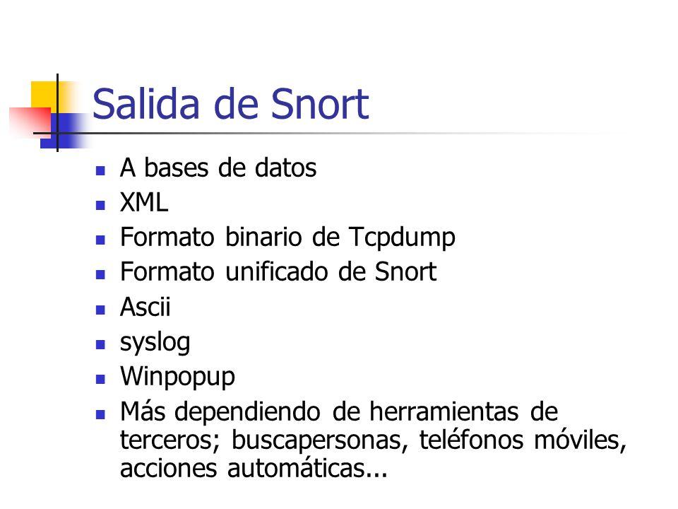 Salida de Snort A bases de datos XML Formato binario de Tcpdump Formato unificado de Snort Ascii syslog Winpopup Más dependiendo de herramientas de te
