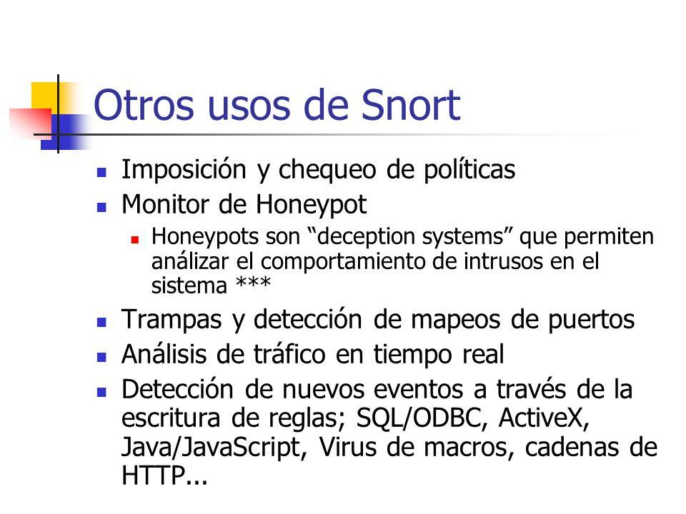 Otros usos de Snort Imposición y chequeo de políticas Monitor de Honeypot Honeypots son deception systems que permiten análizar el comportamiento de i