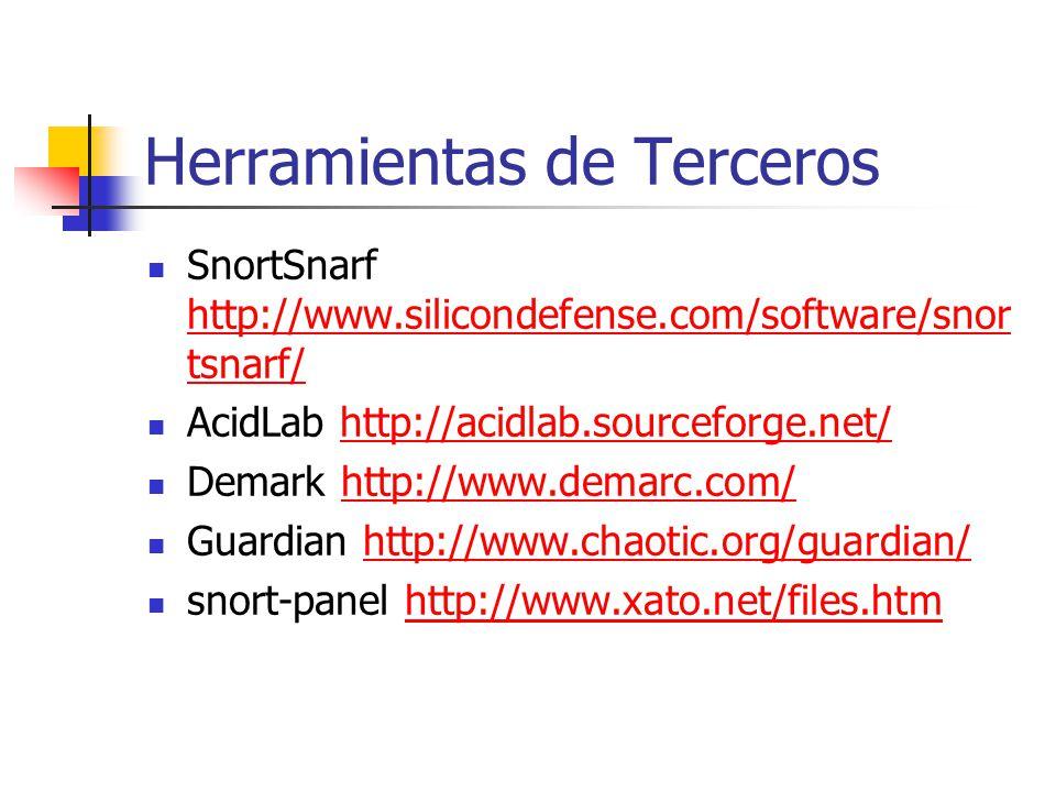 Herramientas de Terceros SnortSnarf http://www.silicondefense.com/software/snor tsnarf/ http://www.silicondefense.com/software/snor tsnarf/ AcidLab ht