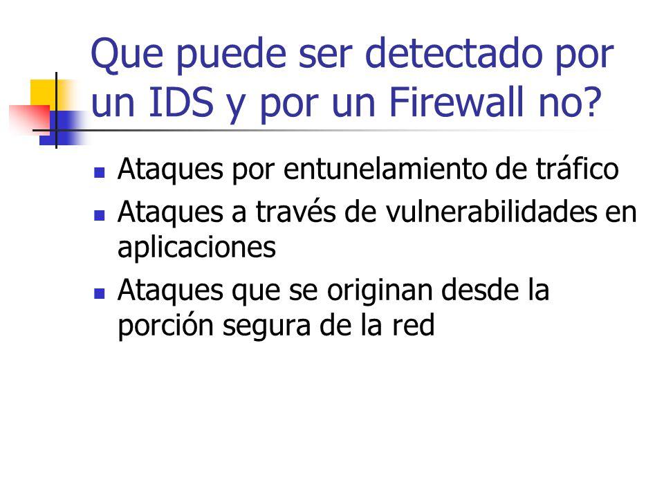 Que puede ser detectado por un IDS y por un Firewall no? Ataques por entunelamiento de tráfico Ataques a través de vulnerabilidades en aplicaciones At