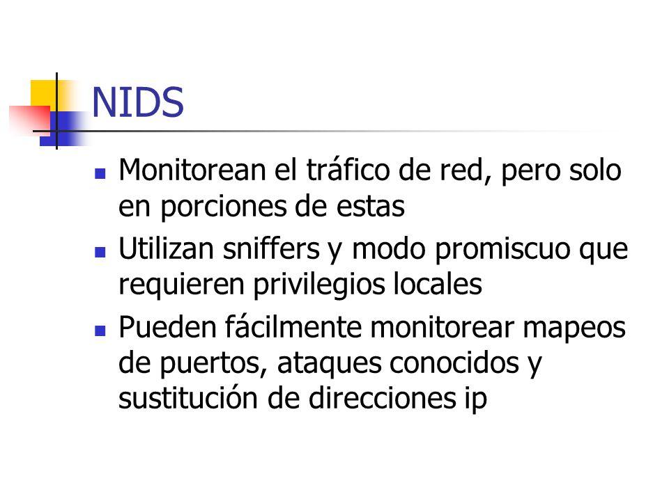 HIDS Solo se preocupan por los eventos locales a una máquina monitoreando el tráfico de red o elementos de la misma máquina Monitorean: Sesiones de usuarios Actividades de los usuarios privilegiados Cambios en el sistema de archivos
