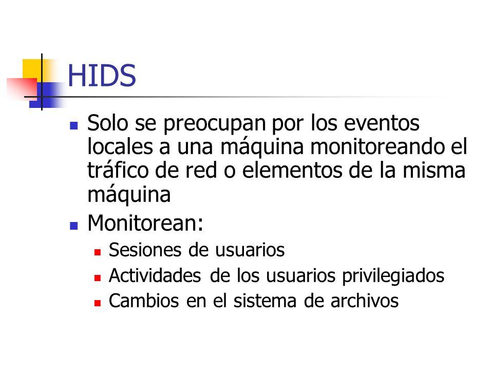 HIDS Solo se preocupan por los eventos locales a una máquina monitoreando el tráfico de red o elementos de la misma máquina Monitorean: Sesiones de us