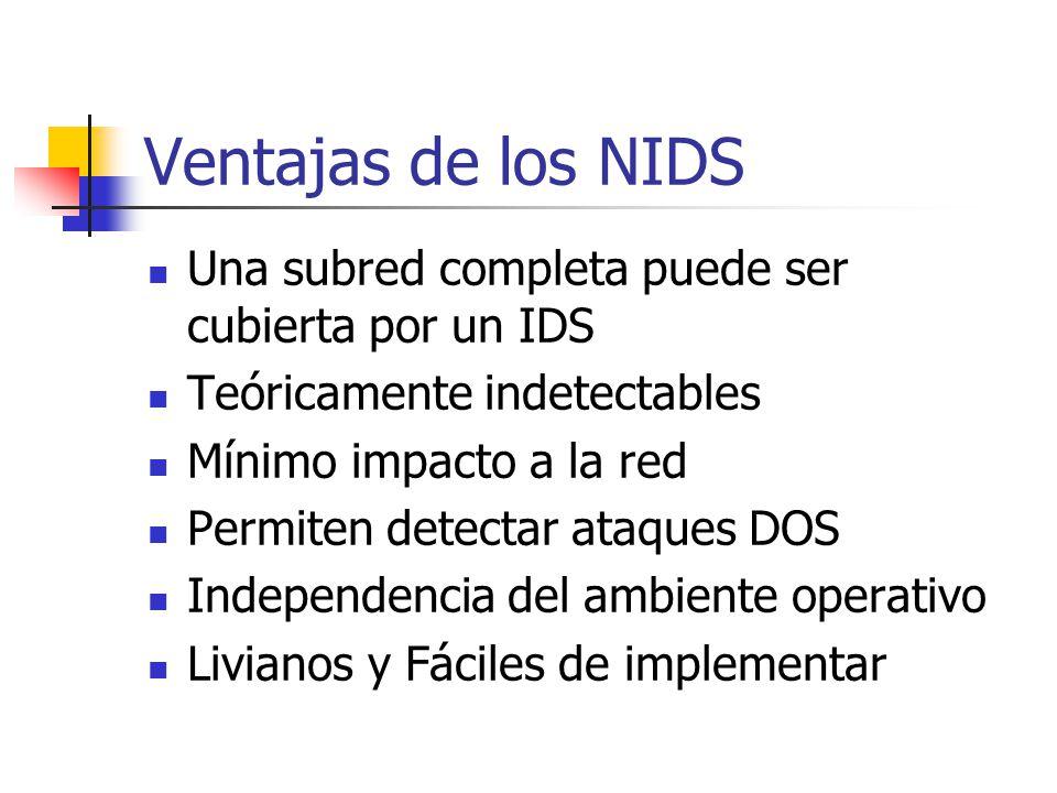 Ventajas de los NIDS Una subred completa puede ser cubierta por un IDS Teóricamente indetectables Mínimo impacto a la red Permiten detectar ataques DO