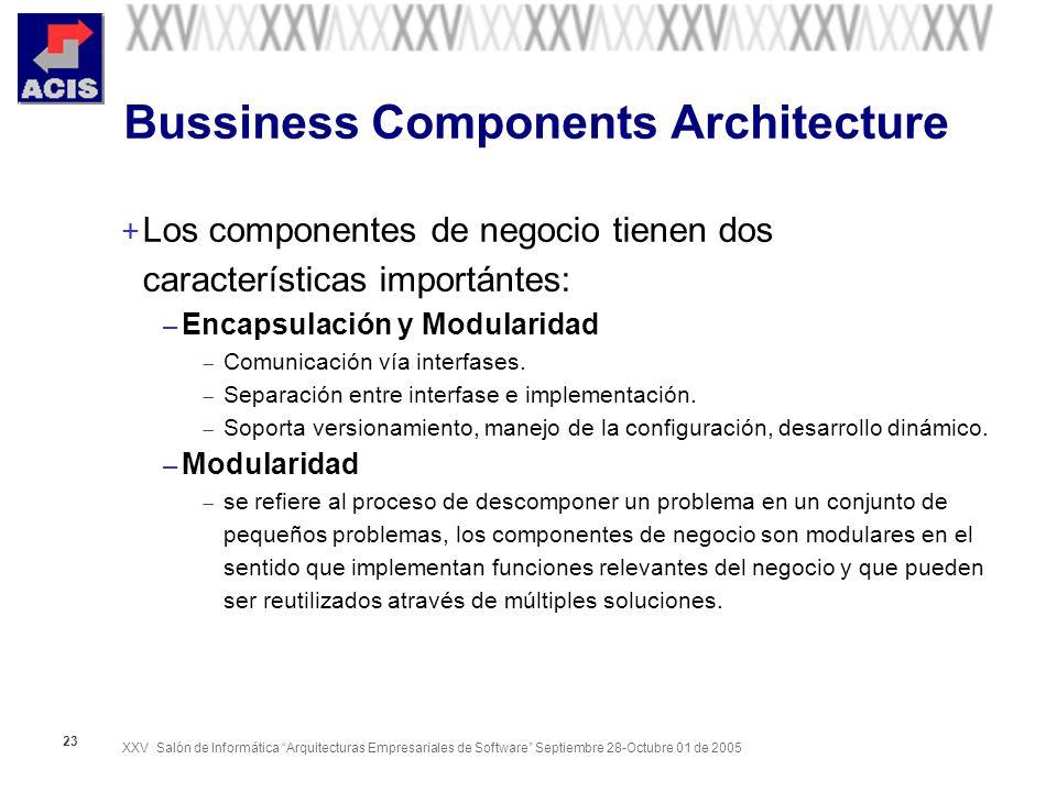 XXV Salón de Informática Arquitecturas Empresariales de Software Septiembre 28-Octubre 01 de 2005 23 Bussiness Components Architecture + Los componentes de negocio tienen dos características importántes: – Encapsulación y Modularidad Comunicación vía interfases.