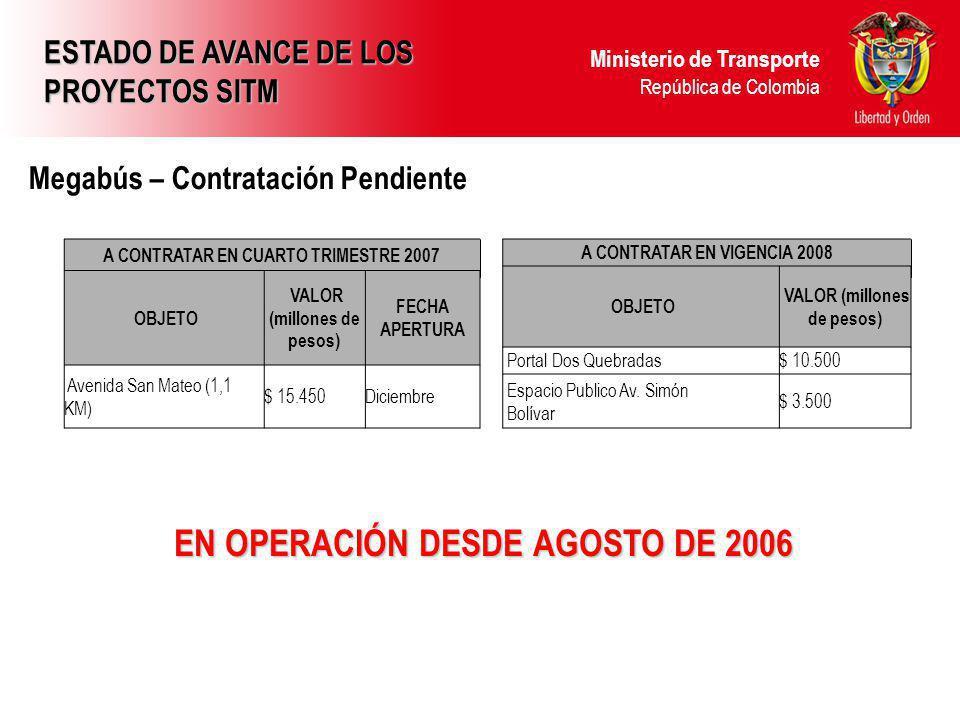 Ministerio de Transporte República de Colombia Megabús – Contratación Pendiente EN OPERACIÓN DESDE AGOSTO DE 2006 ESTADO DE AVANCE DE LOS PROYECTOS SI