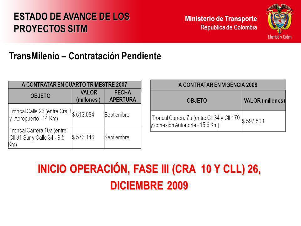 Ministerio de Transporte República de Colombia INICIO OPERACIÓN, FASE III (CRA 10 Y CLL) 26, DICIEMBRE 2009 TransMilenio – Contratación Pendiente ESTADO DE AVANCE DE LOS PROYECTOS SITM A CONTRATAR EN CUARTO TRIMESTRE 2007 OBJETO VALOR (millones ) FECHA APERTURA Troncal Calle 26 (entre Cra 3 y Aeropuerto - 14 Km) $ 613.084Septiembre Troncal Carrera 10a (entre Cll 31 Sur y Calle 34 - 9,5 Km) $ 573.146Septiembre A CONTRATAR EN VIGENCIA 2008 OBJETO VALOR (millones) Troncal Carrera 7a (entre Cll 34 y Cll 170 y conexión Autonorte - 15,6 Km) $ 597.503