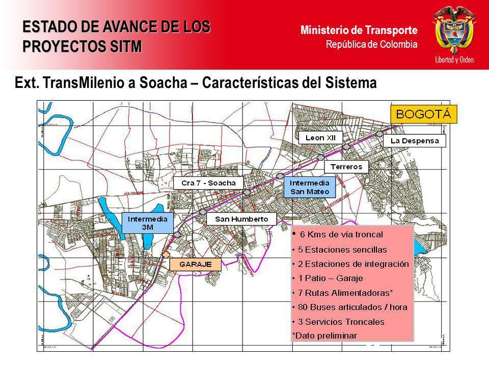 Ministerio de Transporte República de Colombia Ext. TransMilenio a Soacha – Características del Sistema ESTADO DE AVANCE DE LOS PROYECTOS SITM