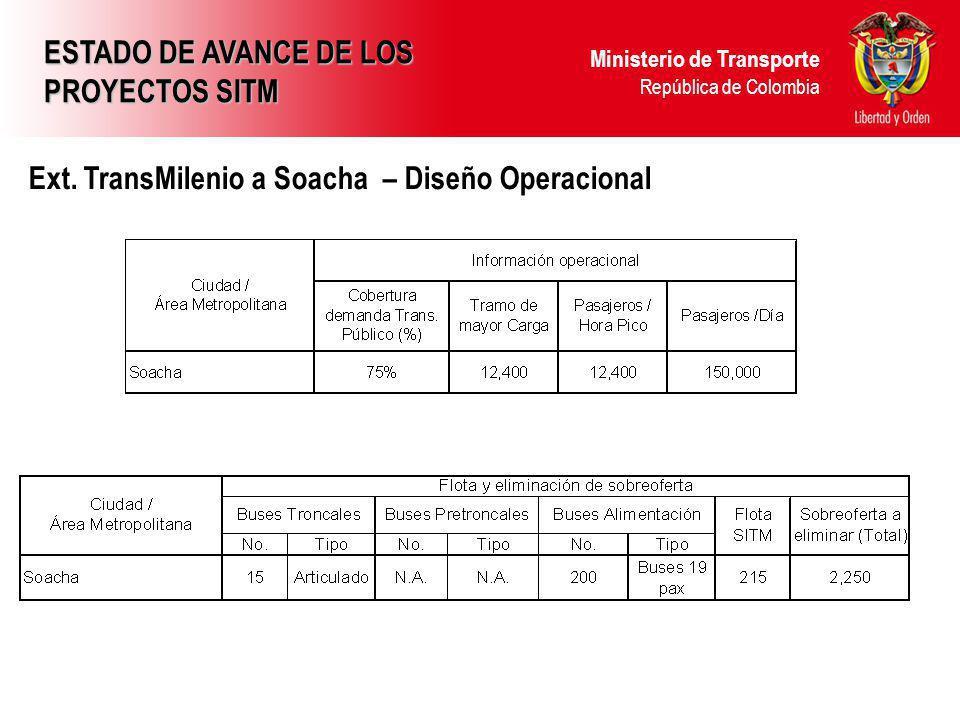 Ministerio de Transporte República de Colombia Ext. TransMilenio a Soacha – Diseño Operacional ESTADO DE AVANCE DE LOS PROYECTOS SITM