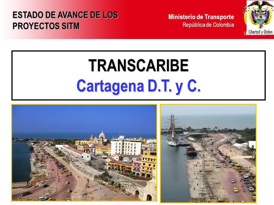 Ministerio de Transporte República de Colombia TRANSCARIBE Cartagena D.T. y C. ESTADO DE AVANCE DE LOS PROYECTOS SITM