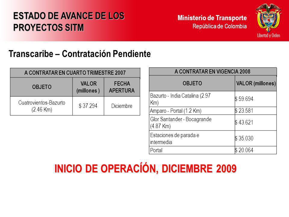 Ministerio de Transporte República de Colombia INICIO DE OPERACÍÓN, DICIEMBRE 2009 Transcaribe – Contratación Pendiente ESTADO DE AVANCE DE LOS PROYECTOS SITM A CONTRATAR EN CUARTO TRIMESTRE 2007 OBJETO VALOR (millones ) FECHA APERTURA Cuatrovientos-Bazurto (2.46 Km) $ 37.294Diciembre A CONTRATAR EN VIGENCIA 2008 OBJETO VALOR (millones) Bazurto - India Catalina (2.97 Km) $ 59.694 Amparo - Portal (1.2 Km)$ 23.581 Glor Santander - Bocagrande (4.87 Km) $ 43.621 Estaciones de parada e intermedia $ 35.030 Portal$ 20.064