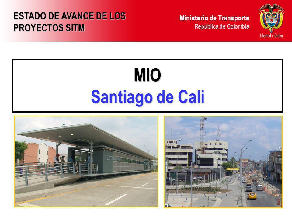 Ministerio de Transporte República de Colombia MIO Santiago de Cali ESTADO DE AVANCE DE LOS PROYECTOS SITM
