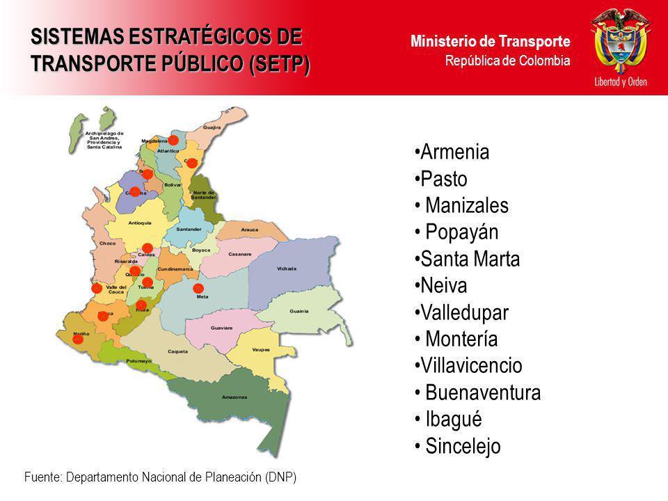 Ministerio de Transporte República de Colombia Armenia Pasto Manizales Popayán Santa Marta Neiva Valledupar Montería Villavicencio Buenaventura Ibagué